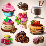 Set of sweets. vector illustration. Set of chocolate sweets, cakes and other sweet food Stock Image