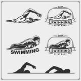 Set of swimming emblems, labels and design elements. royalty free illustration