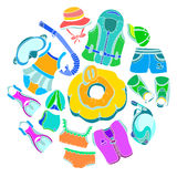 Set with swimming goods for kids on white background.  Royalty Free Stock Image