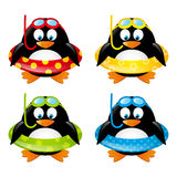 Set of swimming penguins stock illustration