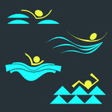 Set of swimming person silhouettes Stock Images