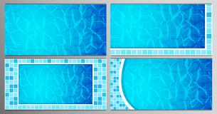 Set of Swimming pool bottom caustics ripple and flow with waves backgrounds. Texture of water surface. Overhead view stock image