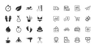 Set of Swimming pool, Spa and Hairdressing icons. Vector royalty free illustration