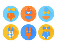 Set of the swimming suit flat icons Royalty Free Stock Images