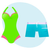 Set swimsuit and swimming trunks. Stock Images