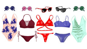 A set of swimsuits and accessories. Royalty Free Stock Photography