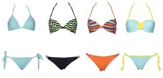Set swimsuits lub bikini odizolowywający na białym tle Nowa lato moda Colorfull i bikini seksowny, Modny, zdjęcia stock