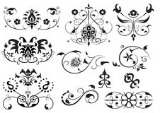 Set of swirl elements Royalty Free Stock Images