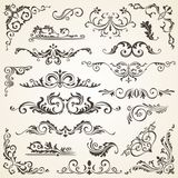 Set of Swirl Elements for design. Calligraphic page decoration, Labels, banners, antique and baroque Frames floral. Set of Swirl Elements for design.  set of Royalty Free Stock Photo