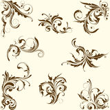 Set of swirl floral ornament Royalty Free Stock Photos