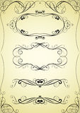 Set of swirl frame and corner design Stock Photos