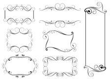 Set of swirl frames. Set of swirl simple black frames design Stock Images