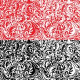 Set of swirl ornamental seamless patterns in white Stock Photo