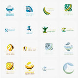 Set of swirl, wave lines, circle logo icons Royalty Free Stock Image