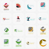Set of swirl, wave lines, circle logo icons Royalty Free Stock Images