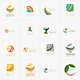 Set of swirl, wave lines, circle logo icons Royalty Free Stock Photography