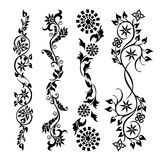 Set swirling decorative flower pattern Royalty Free Stock Photography