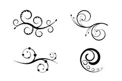 Set of swirling flourishes / swooshes. Collection of swirling elements and decorations Stock Photography
