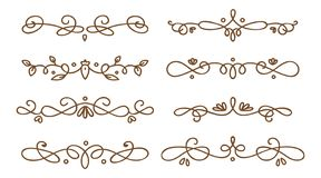 Set of swirly decorative dividers stock illustration
