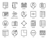 Set of  Switch, Browser, Chat, User, Display, Connection, Layout, Horizontal alignment, Division, Swipe right icons. Set Of 20 icons such as Browser, Chat Royalty Free Stock Photo