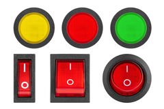 Set of switches and buttons Stock Images