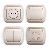 Set of switches and sockets on a white Stock Photography