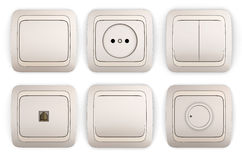 Set of switches and sockets Royalty Free Stock Photography