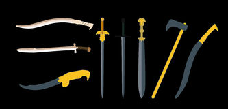Set the Sword, Swords, Ax, Machete. Vector Royalty Free Stock Image