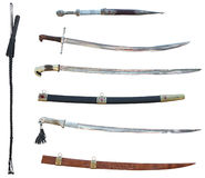 Set of swords and whip Royalty Free Stock Images