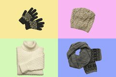 Set of sylish winter clothes on colour background with hat, mittens, sweater, scarf. flat lay, top view. Hat, mittens, sweater, scarf isolated on colour royalty free stock photos