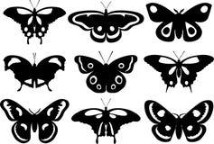 Set sylwetka motyle odizolowywający na białym tle również zwrócić corel ilustracji wektora ilustracja wektor
