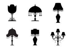 Set sylwetka rocznik i stołowej lampy płaska ikona, Wektorowe ilustracje royalty ilustracja