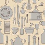 Set sylwetki kuchenni naczynia ilustracyjny lelui czerwieni stylu rocznik również zwrócić corel ilustracji wektora Zdjęcia Royalty Free