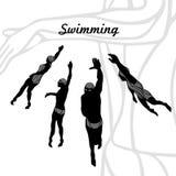 Set sylwetki pływaczki wektorowe ilustracja wektor