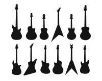 Set sylwetki różnorodne gitary Bas, gitara elektryczna, akustyczna Zdjęcia Royalty Free