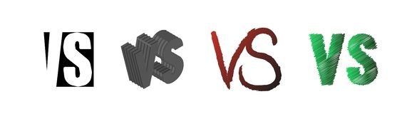 Set of symbol competition VS. Versus text letters. Vector illustration stock illustration