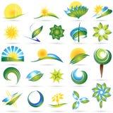 set symbol för modern natur royaltyfri illustrationer