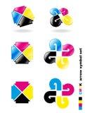 set symbol för pilcmyk Royaltyfri Foto