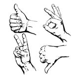 Set of  Symbol Hands. Vector Illustration Stock Images