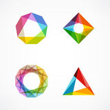 Set of minimal geometric multicolor symbol set shapes. Trendy icons and logotypes. Business signs symbols, labels, badges, frames. Set of symbol and shapes Royalty Free Stock Images
