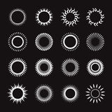 Set of symbol of sun. Vector Icons. Set of white symbol of sun. Vector Icons Stock Photography