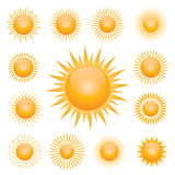 Set of symbol of sun. Vector Icons. Set of yellow icons. Collection of vector sun Stock Image
