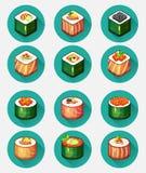 Set symboler för Sushi Arkivbild