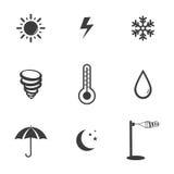 Set symboler för väder Arkivbilder