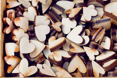 Set of symbolic hearts made from wood Stock Image