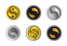 Set symboliczni kwiaty w Yin Yang emblemata papieru cięcia stylu royalty ilustracja
