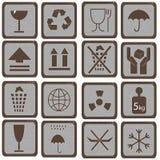 Set of symbols. Collection of retro stylized box packing symbols Royalty Free Stock Photos