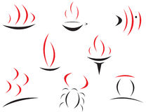 Set of symbols. Set of red and black symbols for branding Royalty Free Stock Photos