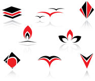 Set of symbols. Set of red and black symbols for branding Stock Photography