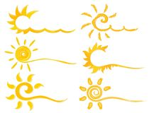 Set symbols of bright sun. vector illustration